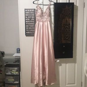Mori Lee prom dress in blush pink